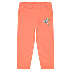 Slim-fit jeggings with embroidered bird and pockets