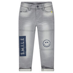 Used-effect fleece jeans with ©Smiley prints