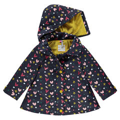 Printed rubber parka with removable hood and sherpa lining