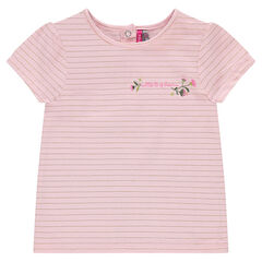 Short-sleeved tee-shirt with thin golden stripes and embroidery