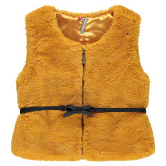 Sleeveless fake fur jacket with belt