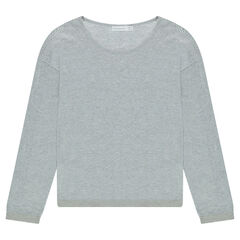 Junior - Thin heather gray sweater with openwork knit