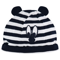 Striped jersey cap with ears