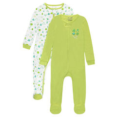 Set of 2 zipped jersey footed sleepers with printed robots 6605f993d