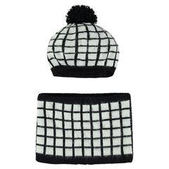 Checkered cap and snood ensemble