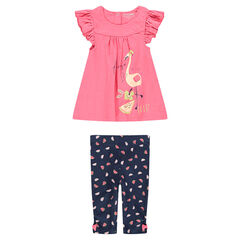 Ensemble with a tunic featuring a pink flamingo print and leggings with an allover print