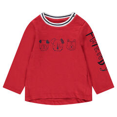 Long-sleeved jersey tee-shirt with printed animals