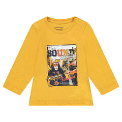 Long-sleeved jersey tee-shirt with a decorative print