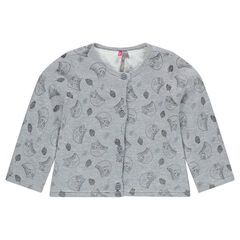 Sherpa-lined cardigan with printed owls