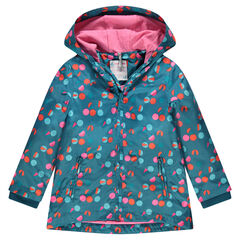 Fancy printed windbreaker with jersey lined hood