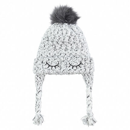 Peruvian-style knit cap with embroidered details and pompom