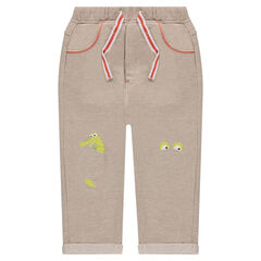 Heather fleece sweatpants with patches and prints at the knees