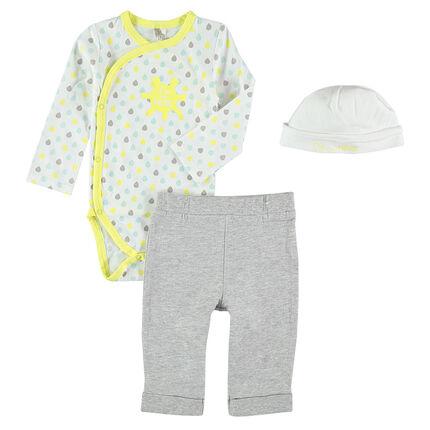 3-piece ensemble with bodysuit, pants and cap