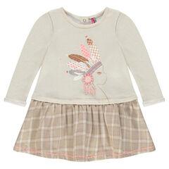 Long-sleeved, bi-material, 2-in-1 effect dress