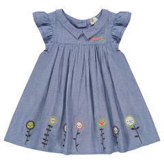 Chambray dress with frills and embroidery