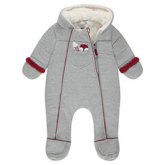 Sherpa-lined chevron snowsuit with an embroidered fox