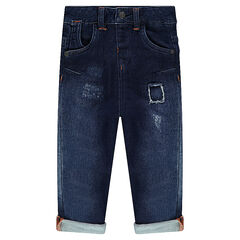 Used-effect jeans with pockets and contrasting topstitching