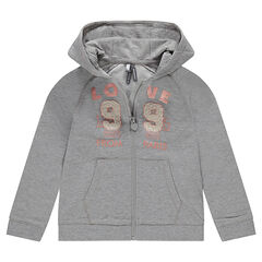 Hooded and zipped fleece jacket with a printed message