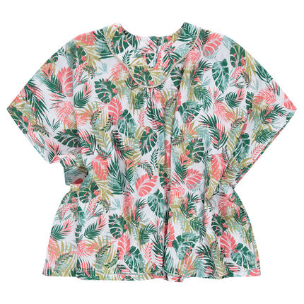 Bat-sleeved tunic with an allover tropical print