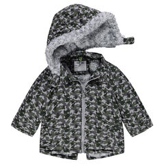 Sherpa-lined twill parka with army motif
