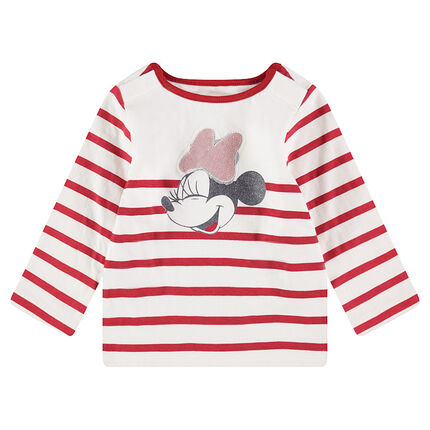 Jersey sailor top with sequined ©Disney Minnie Mouse print and snap-fastened neck