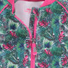 Zipped jacket in double-sided interlock with a tropical print
