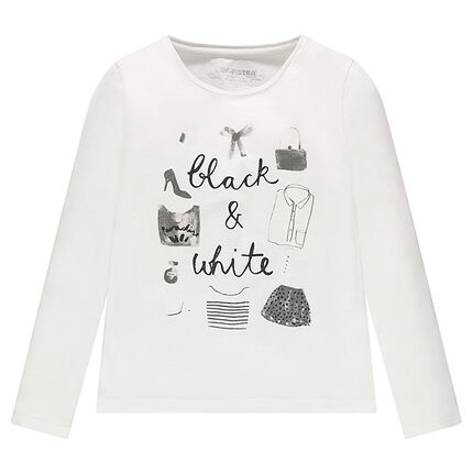 Long-sleeved plain-colored tee-shirt with print