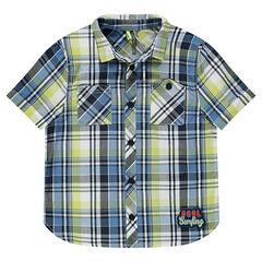 Chemise manches courtes à carreaux et poches