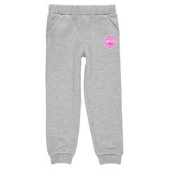 Fleece jogging pants with decorative print