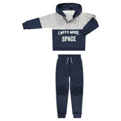 Junior - Two-tone fleece sweatsuit with a zipped collar and messages