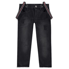 Used-effect jeans with removable striped suspenders