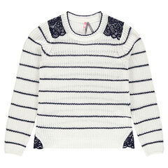 Junior - Striped knit sweater with lace yoke
