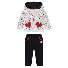 Fleece sweatsuit with jacket featuring allover printed cats