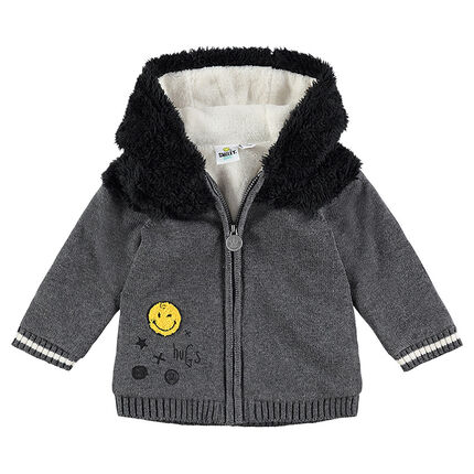 Sherpa-lined knit jacket with Smiley badges