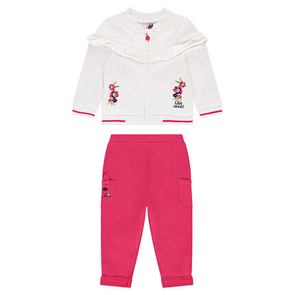 Fleece sweatsuit with a jacket featuring embroidered flowers and plain-colored pants