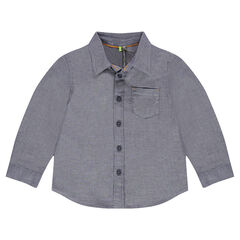 Long-sleeved shirt with micro-chevrons and pocket