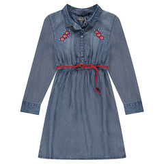 Junior - Tencel dress with embroidered flowers and belt