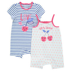 Set of 2 jersey playsuits with printed cherries