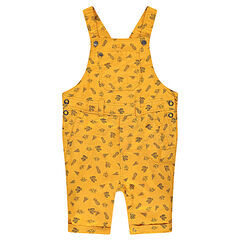 Mustard yellow short overalls with little decorative prints