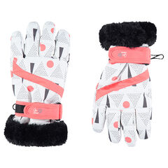 Ski gloves with allover prints and fake fur