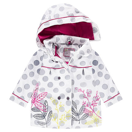 Sherpa-lined rubber windbreaker with allover polka dots