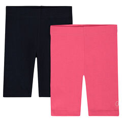 Junior - Set of 2 plain-colored cycling shorts