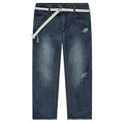 Junior - Used-effect mid-calf jeans with a removable belt