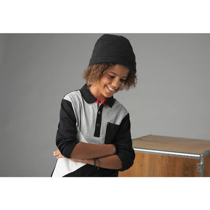 Junior - 2-in-1 effect long-sleeved tricolored polo shirt with pocket