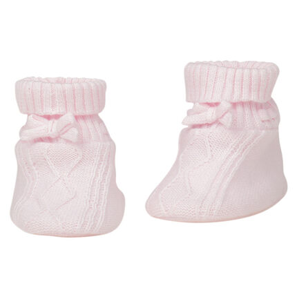 Knit booties with bow for newborns