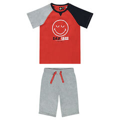 Junior - Short jersey pajamas with a ©Smiley print
