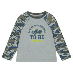 Tee-shirt featuring army-motif long sleeves and a print in front