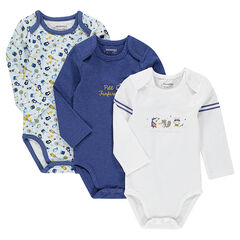 Set of 3 matching plain-colored/printed, long-sleeved bodysuits