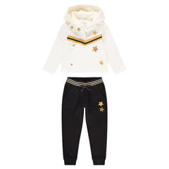 Two-tone sweatsuit with sparkly stars and bands
