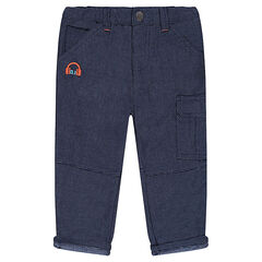 Cotton pants with embroidered cap